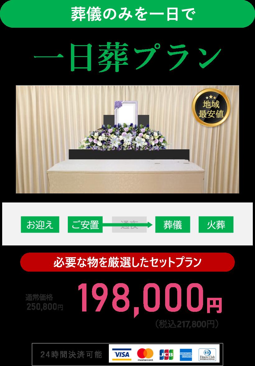 葬儀のみを一日で 一日葬プラン 必要な物を厳選したセットプラン 220,000円(税抜200,000円)